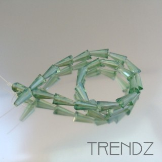 18708-09 STRING OF 25 FACETED GLASS 6 X 12 MM CONE BEADS