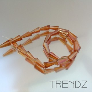 18708-11 STRING OF 25 FACETED GLASS 6 X 12 MM CONE BEADS