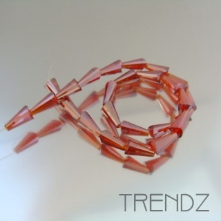 18708-12 STRING OF 25 FACETED GLASS 6 X 12 MM CONE BEADS