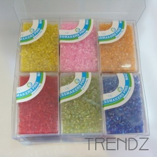 19611 PACK OF 12 BOXES OF COLOURED MIYUKI TYPE BEADS