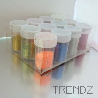 19613 PACK OF 12 BOXES OF COLOURED GLITTER