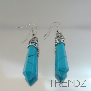 24106-08 TURQUESA FISH HOOK EARRINGS WITH NATURAL STONE