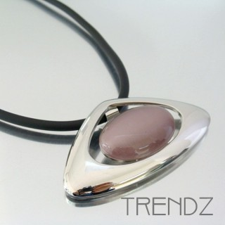 20101-08 RHODIUM PLATED PENDANT WITH CAT'S EYE STONE