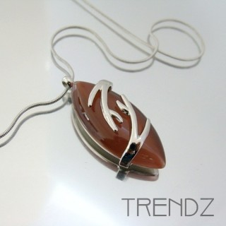 21102 RHODIUM PLATED NECKLACE WITH CAT'S EYE STONE