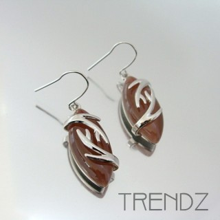 21103 RHODIUM PLATED EARRINGS WITH CAT'S EYE STONE