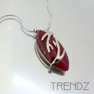 21108 RHODIUM PLATED NECKLACE WITH CAT'S EYE STONE
