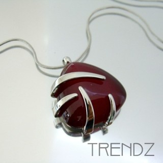 21120 RHODIUM PLATED NECKLACE WITH CAT'S EYE STONE