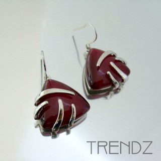 21121 RHODIUM PLATED EARRINGS WITH CAT'S EYE STONE