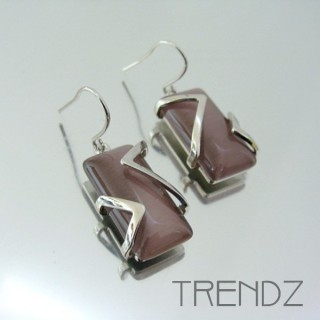 21133 RHODIUM PLATED EARRINGS WITH CAT'S EYE STONE