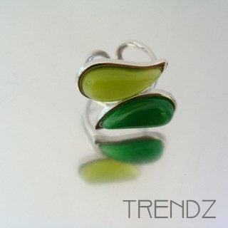 21176 RHODIUM PLATED CAT'S EYE ADJUSTABLE RING