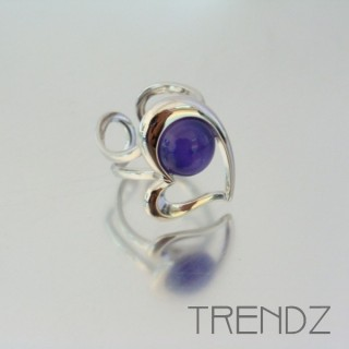 21179 RHODIUM PLATED CAT'S EYE ADJUSTABLE RING
