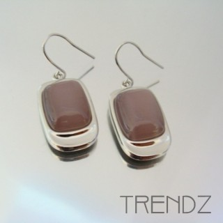 21190 RHODIUM PLATED EARRINGS WITH CAT'S EYE STONE