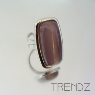 21191 RHODIUM PLATED CAT'S EYE ADJUSTABLE RING