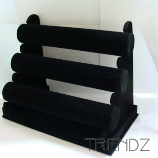 20390 THREE LINE BLACK VELVET BRACELET STAND